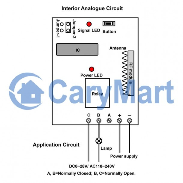 1 Channel Dc Power Rf Momentary Remote Control Receiver Circuit