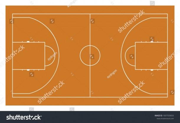Basketball Court Lines Standard Basketball Field Stock Vector