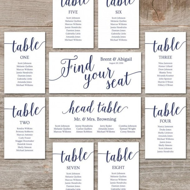 Wedding Seating Chart Template    Diy Seating Cards, Editable