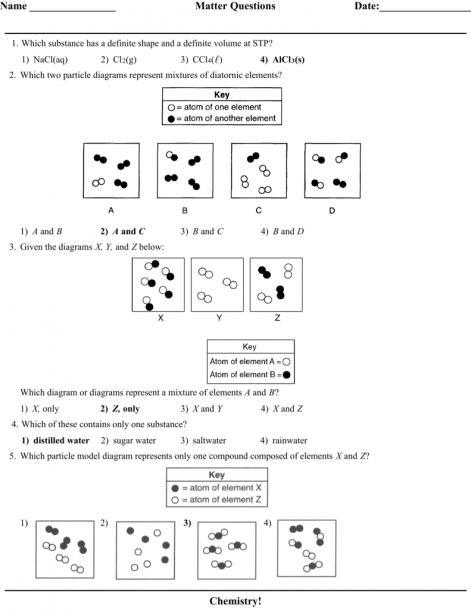 Matter Practice Quiz Answers