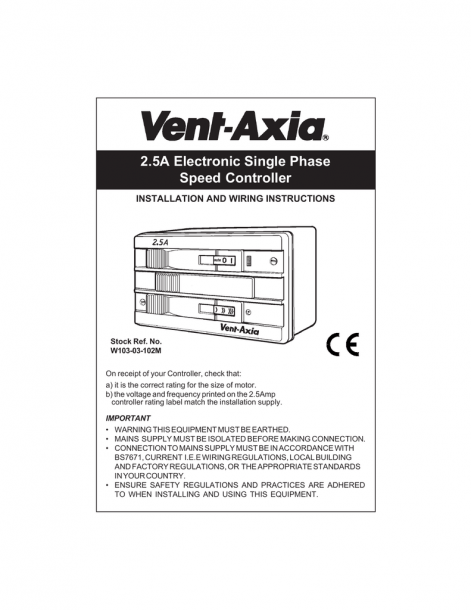 2 5a Electronic Single Phase Speed Controller Installation And