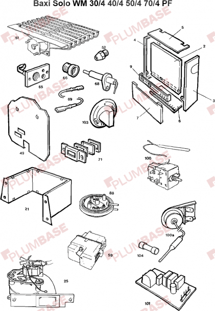 Baxi Solo Wm 50 4 Pf Exploded Views And Parts List
