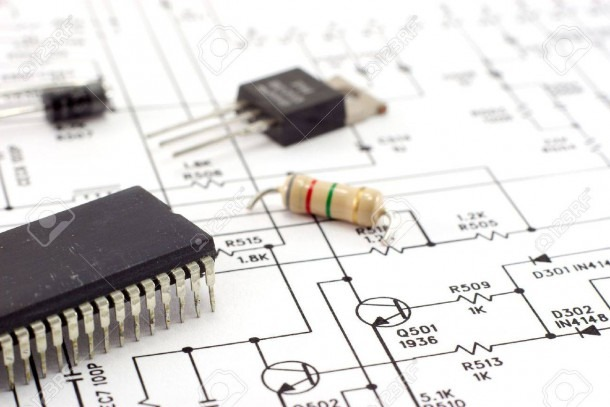 Electronic Components On A Schematic Diagram Background  Stock