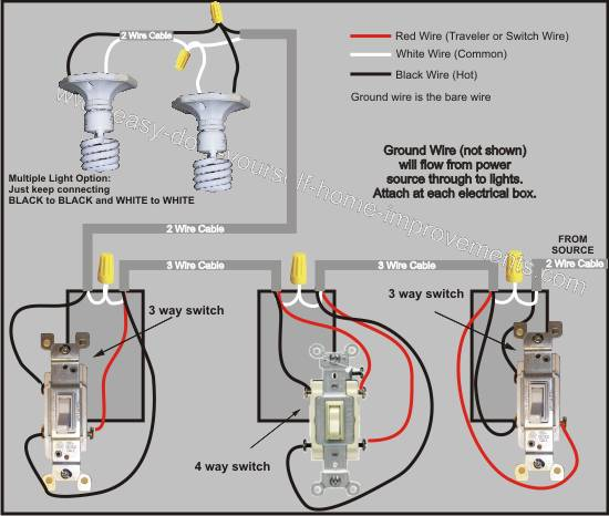 Four Way Switch Wiring Diagrams Two Light