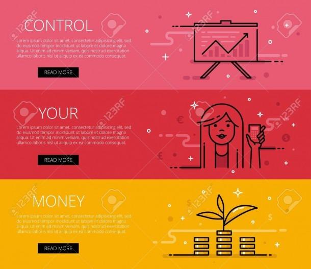 Linear Personal Finance Web Banners Set  Line Diagram, Woman