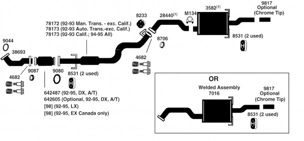 1997 Honda Civic Exhaust Diagram