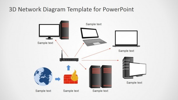 3d Computers Network Diagram For Powerpoint