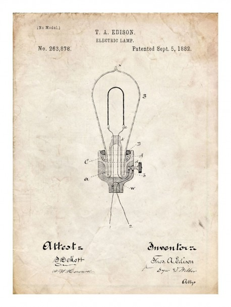 Edison Light Bulb Invention Poster 18x24  Handmade Giclée Gallery