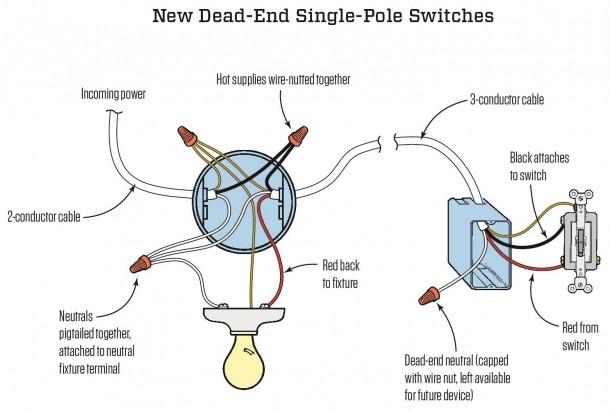 One Way Switch Wiring Diagram Light