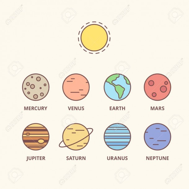 Solar System Planets And Sun, Vector Line Icons  Simple Cartoon