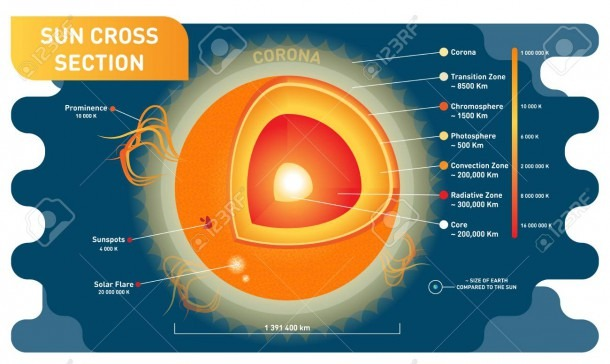 Sun Cross Section Scientific Vector Illustration Diagram With