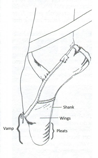 A Diagram With Pointe Shoe's Parts