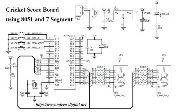 Cricket Score Board Using 8051 And 7 Segment