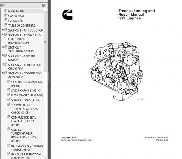 Cummins K19 Diesel Engine Troubleshooting And Repair Manual