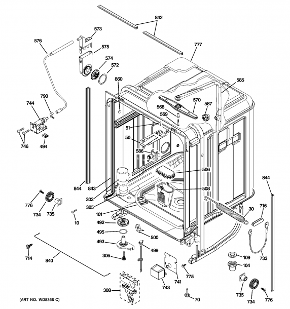 Ge Model Gdwt300r30bb Dishwasher Genuine Parts