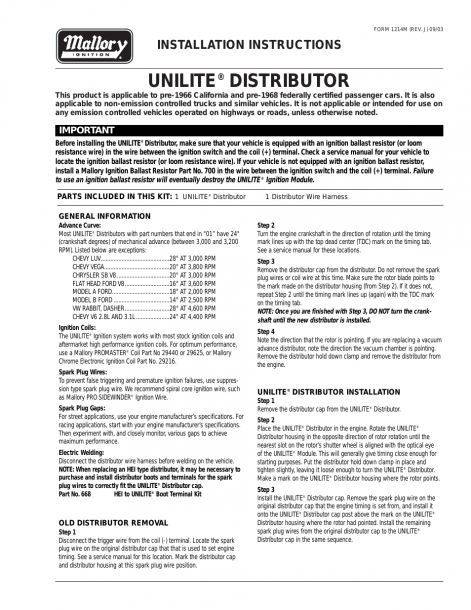 Mallory Ignition Mallory Unilite Distributor User Manual
