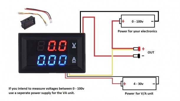 Dc 100v 10a Voltmeter Ammeter Blue + Red Led Amp Dual Digital Volt