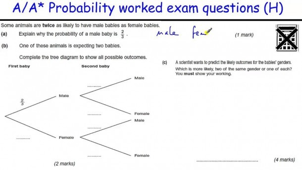 How To Do Probability A A  Gcse Maths Revision Higher Level Worked