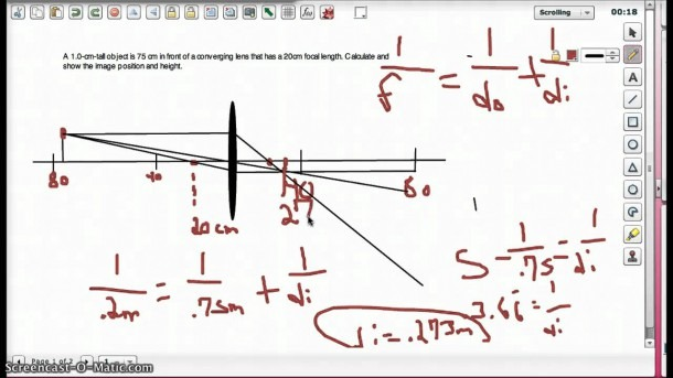 Lens Equation And Ray Diagram Converging Lens Example