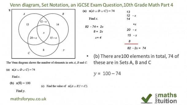 Venn Diagrams, Set Notation, An Igcse Exam Question, 10th Grade