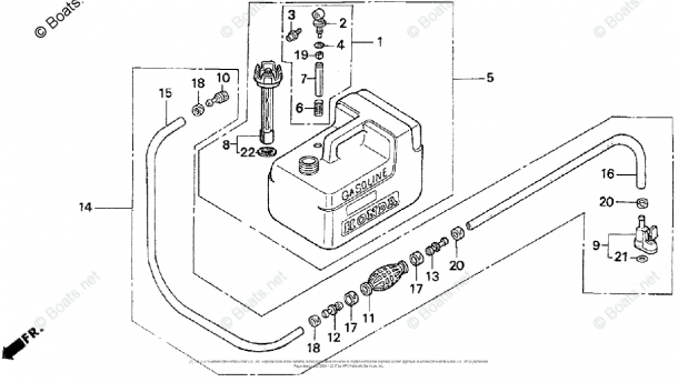 Honda Outboard Parts By Year 1997 Oem Parts Diagram For Fuel Tank