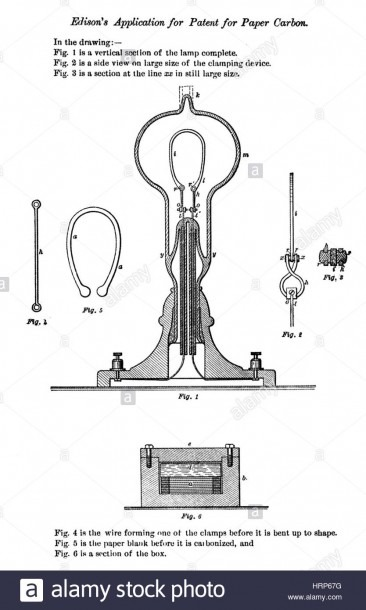 Thomas Edison, Patent Application, 1878 Stock Photo  135097524