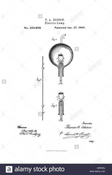 Thomas Edison's Light Bulb Patent, 1880 Stock Photo  135097190
