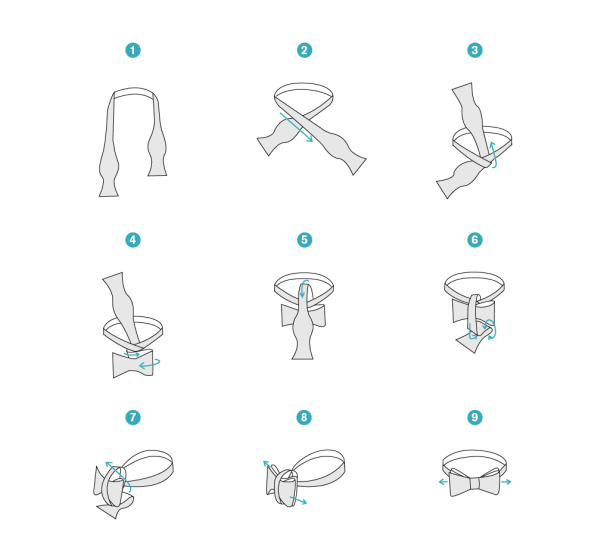 Illustrated Instructions On How To Tie A Bow Tie,  A Resource