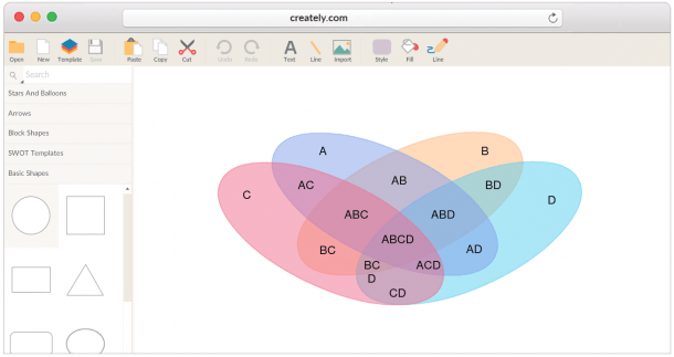 Draw Venn Diagrams Online Easily With Worksheet Templates