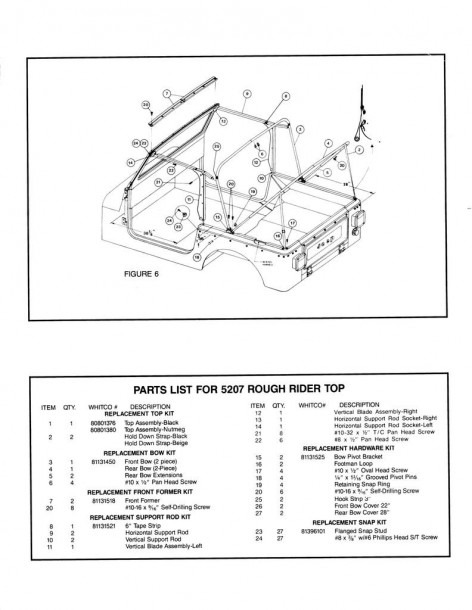 Cj7 Original Soft Top Hardware