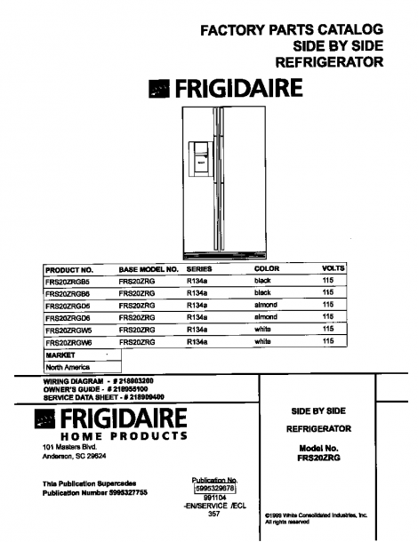 Frigidaire Model Frs20zrgb6 Side