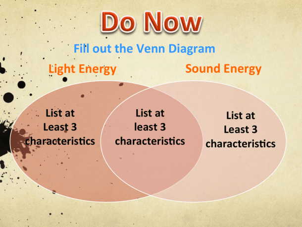 Light Energy Sound Energy Fill Out The Venn Diagram