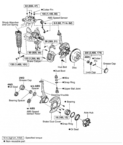 2001 Toyota Tacoma Rear Axle Diagram
