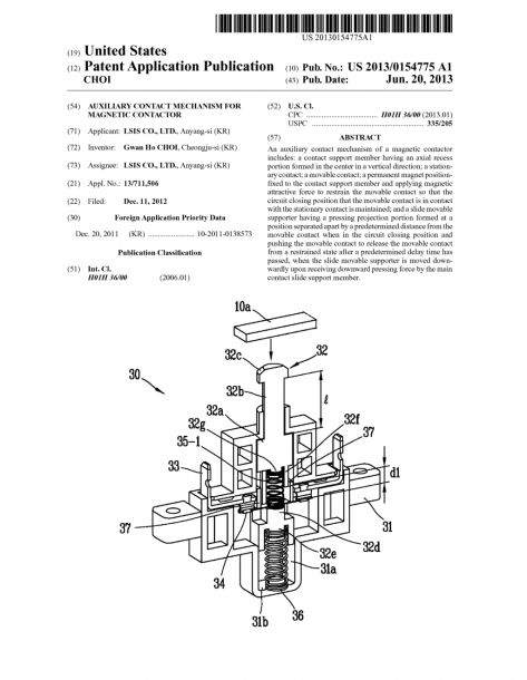 Auxiliary Contact Mechanism For Magnetic Contactor