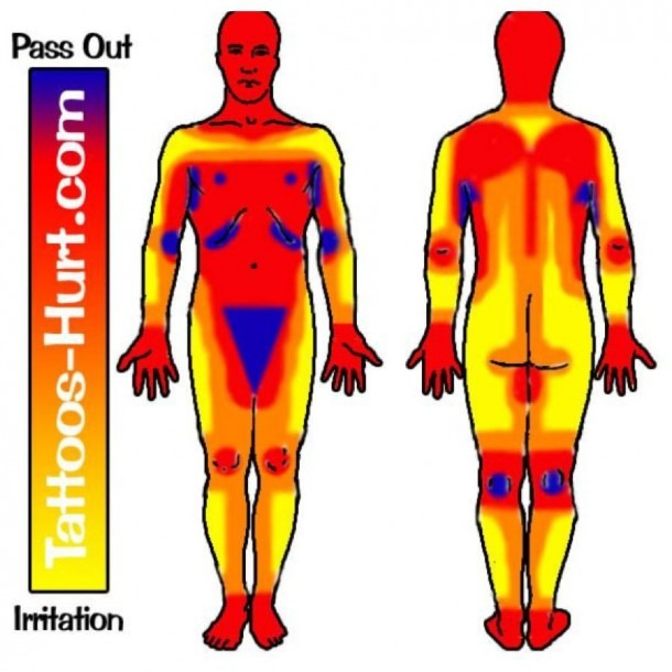 Diagram Representing Pain Levels On Different Areas Of The Body