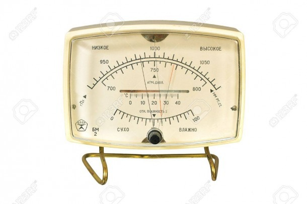 Household Aneroid Barometer Hygrometer Thermometer  Isolate Image