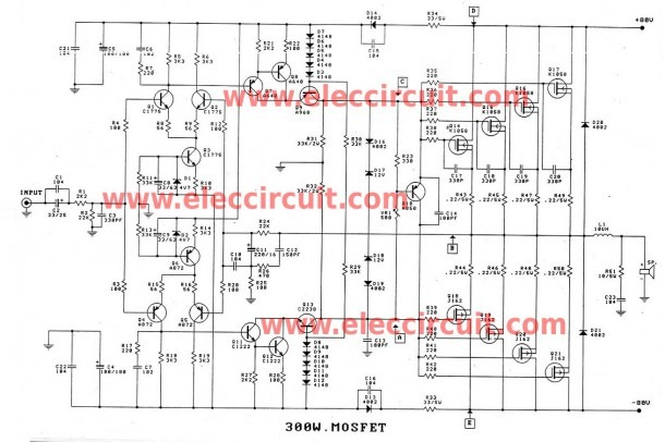 1000 Watts Amplifier Circuit Diagrams