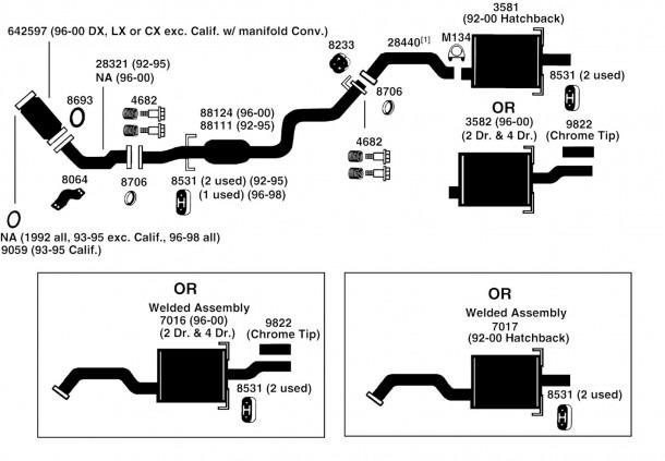 Honda Civic Exhaust Diagram From Best Value Auto Parts