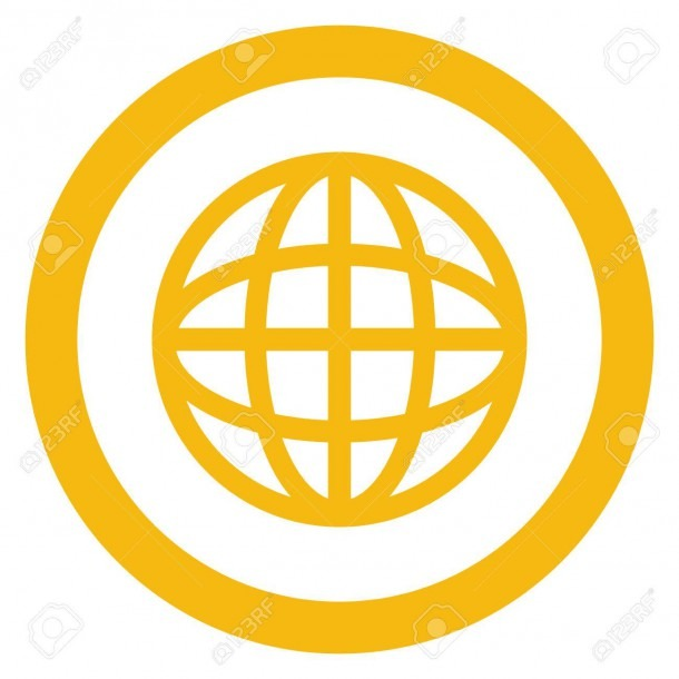Simple Flat Design Earth Globe Diagram Inside Circle Icon Vector