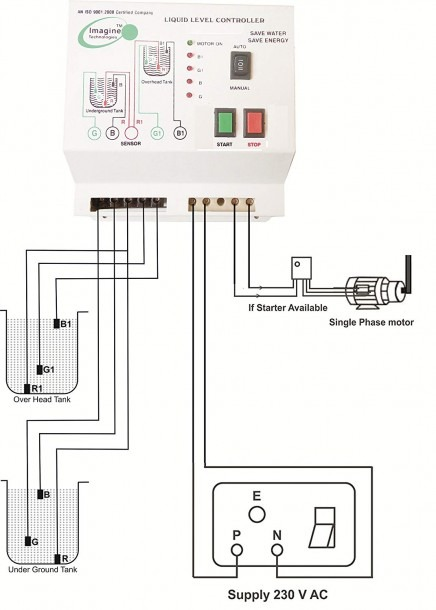 Project Of Water Level Sensor And Controller Circuit Diagram