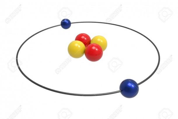 Bohr Model Of Helium Atom With Proton, Neutron And Electron