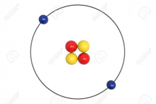 Helium Atom Bohr Model With Proton, Neutron And Electron  3d
