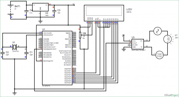 Digital Ammeter Circuit Using Pic And Acs712