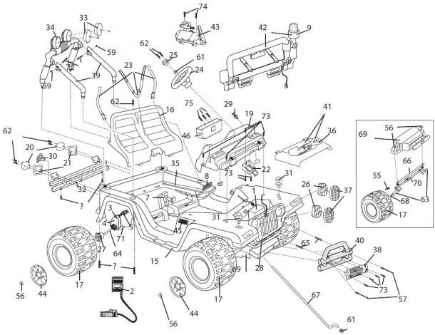 Power Wheels Fire Rescue Jeep Parts
