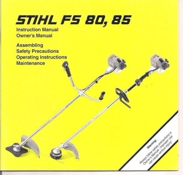 Stihl Fs80 Fs85 Instruction Owners Assembly Maintenance Operating
