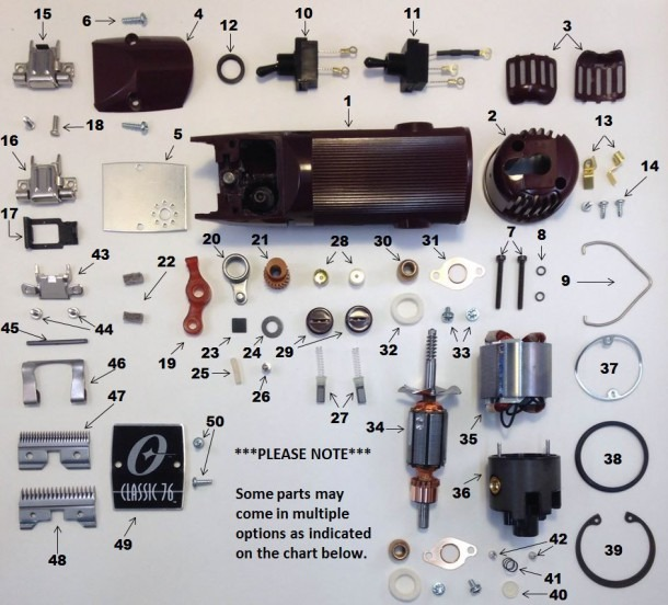 Oster A5 And 76 Clipper Parts