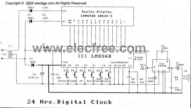 28 led clock timer circuit diagram
