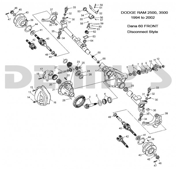 Dodge Dana 60 Disconnect Front Axle Parts For 1994 To 2002 Dodge