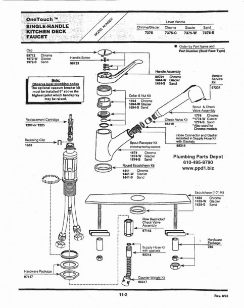 Delta Kitchen Faucet Repair Diagram