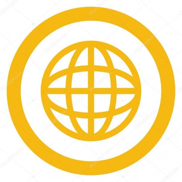 Earth Globe Diagram Inside Circle Icon — Stock Vector © Jemastock